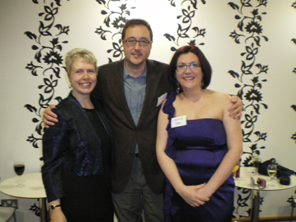 Penny Legg, Simon Whaley and Catherine Miller at the Gala Dinner at the York Festival of Writing 2011 (Photo credit: a helpful passer-by at the Festival!)
