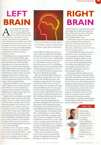 Left Brain Right Brian - Writing Magazine - February 2012 1