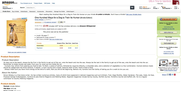 One Hundred Ways For A Dog To Train Its Human now available as an eBook
