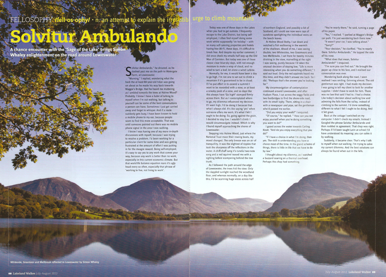 Solvitur Ambulando was published in lakeland Walker magazine