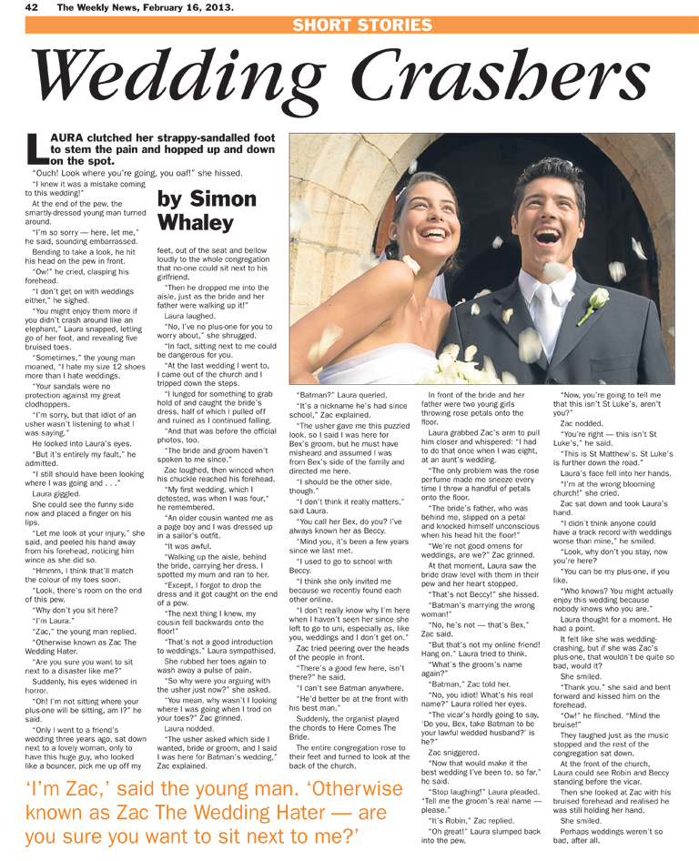 Wedding Crashers - published in The Weekly News