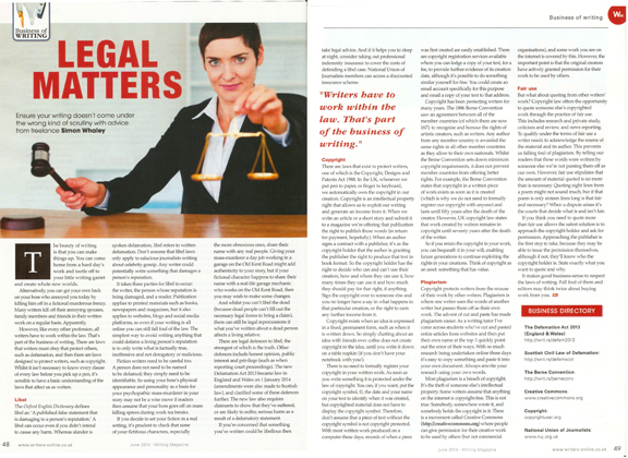 BoW - Legal Matters - Writing Magazine - June 2014