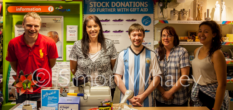 Luke, Sharon, Daniel, Gabrielle and Louise of the Age UK store in Newport, Shropshire