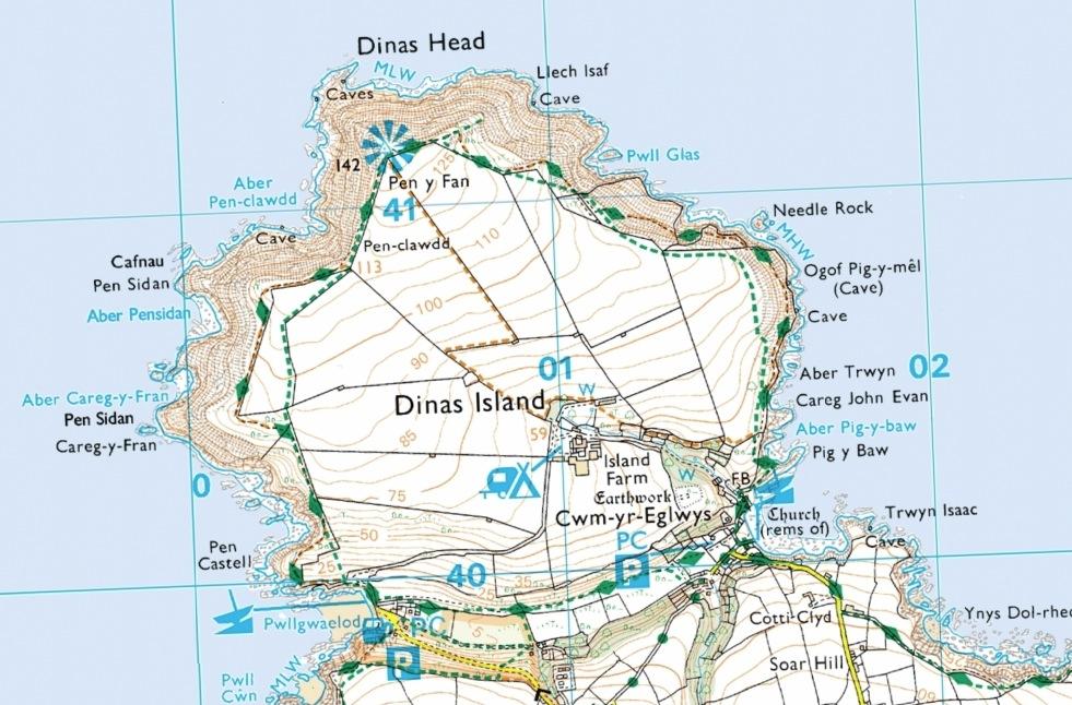 The pentagon-shaped DInas Head, Pembrokeshire