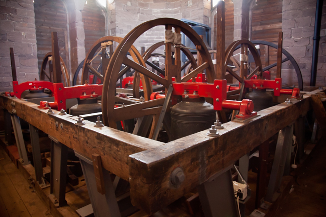 Inside the bell tower of St Laurence's Church, Ludlow, Shropshir