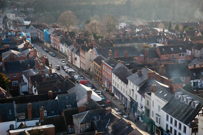 Broad Street from St Laurence's Church, Ludlow, Shropshire