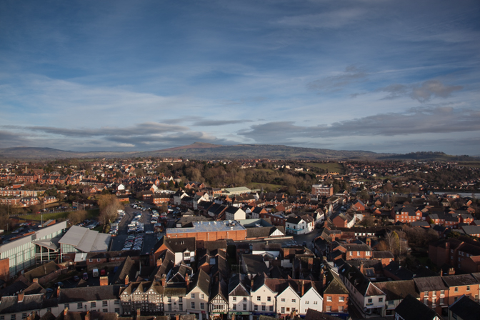 Ludlow and Clee Hill from St Laurence's Church, Ludlow, Shropshi