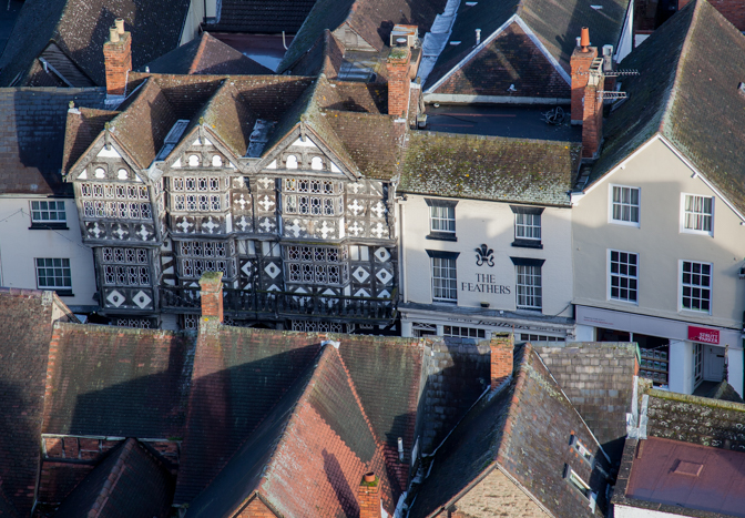 The Feathers Hotel from St Laurence's Church, Ludlow, Shropshire