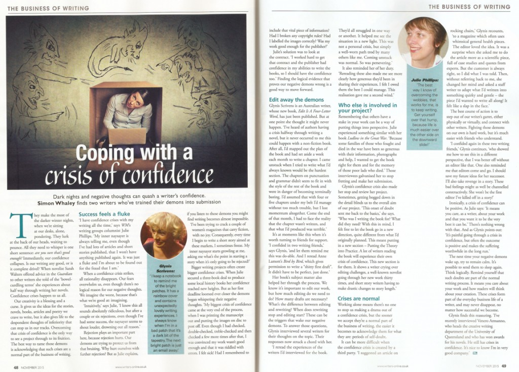 Coping with a Crisis of Confidence - Writing Magazine - November 2015