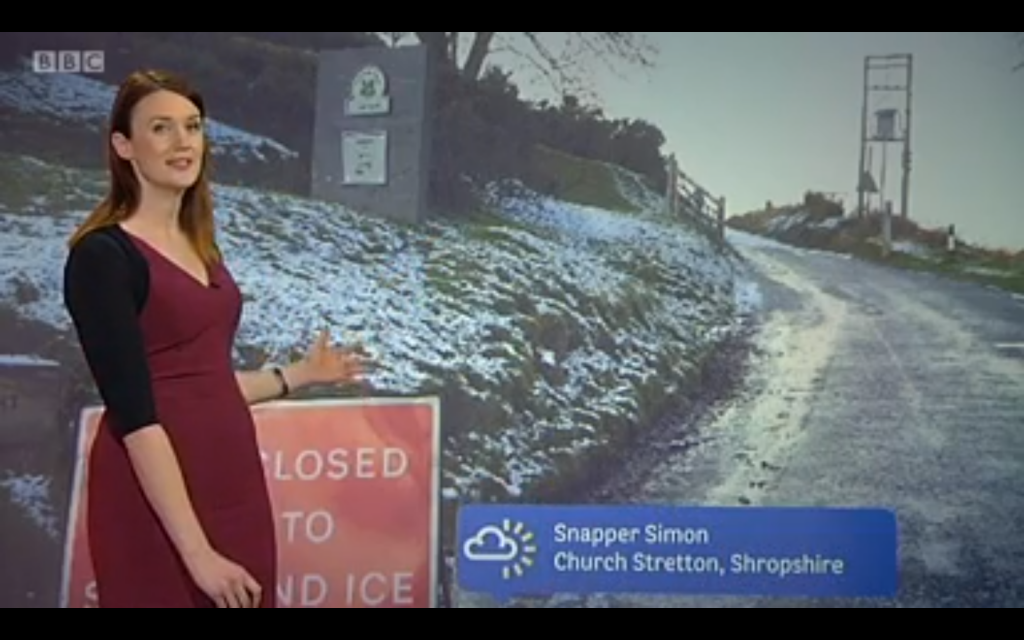 The Burway closed due to snow and ice - my photo used on BBC Midlands Today