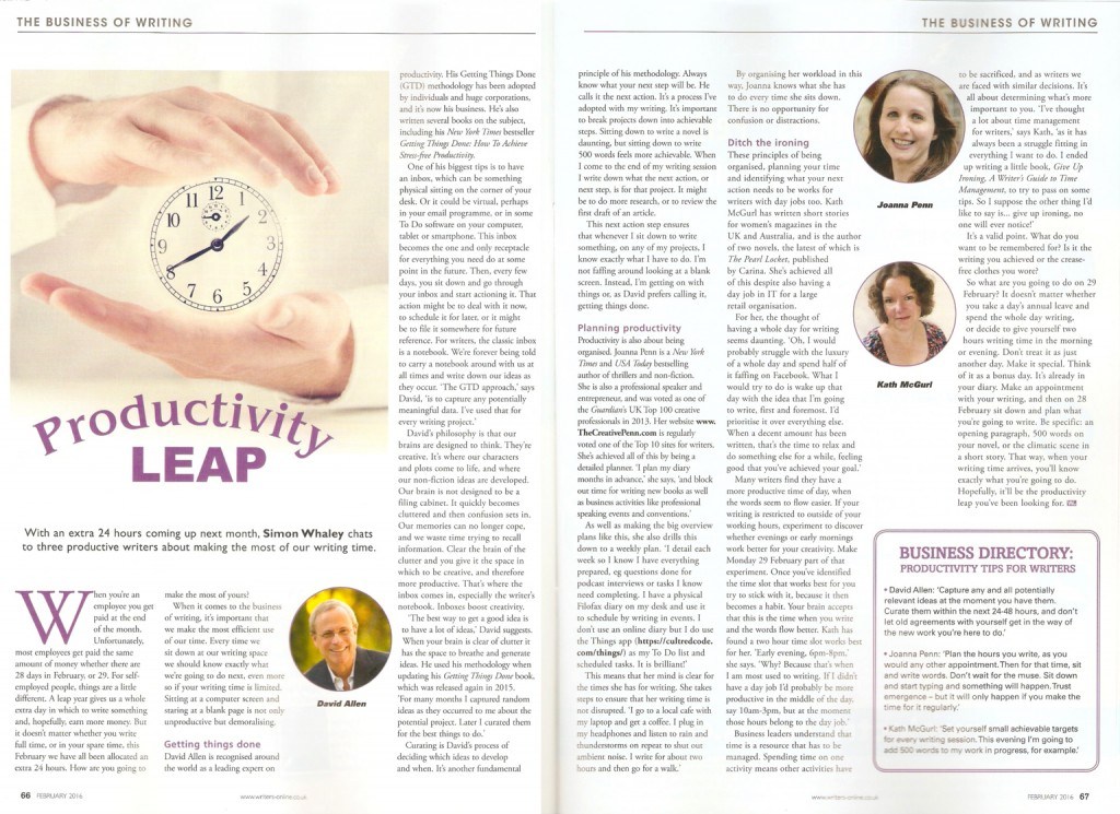 Productivity Leap - Published in Writing Magazine - February 2016