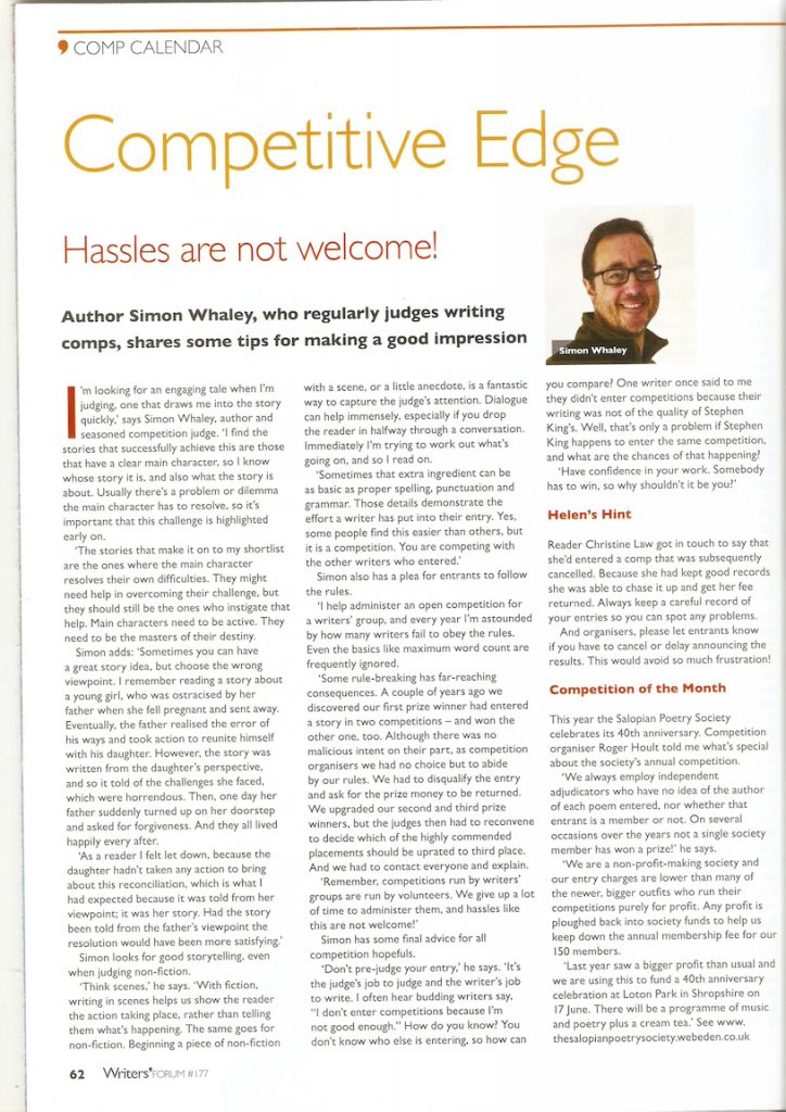 Interview in Writers' Forum magazine - July 2016
