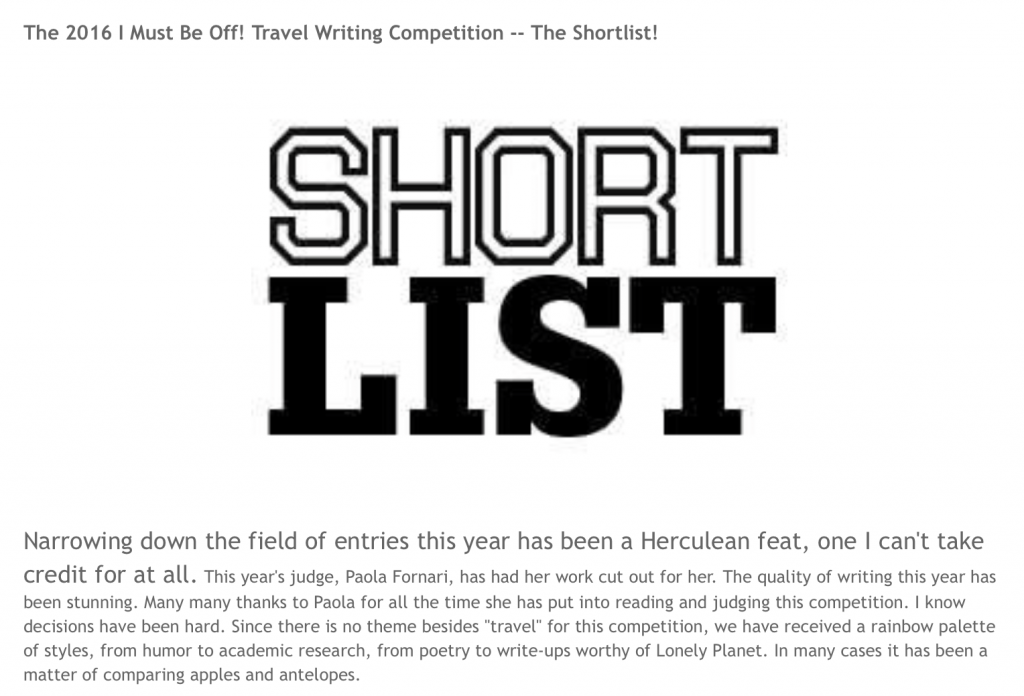Travel Writing Competition winners