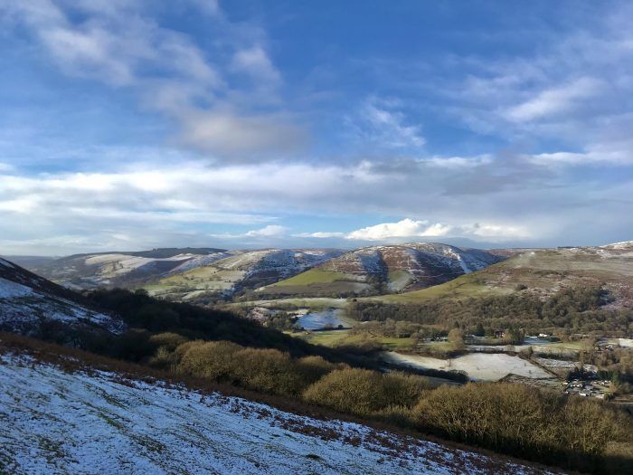 Just a dusting across the tops of the Shropshire Hills.