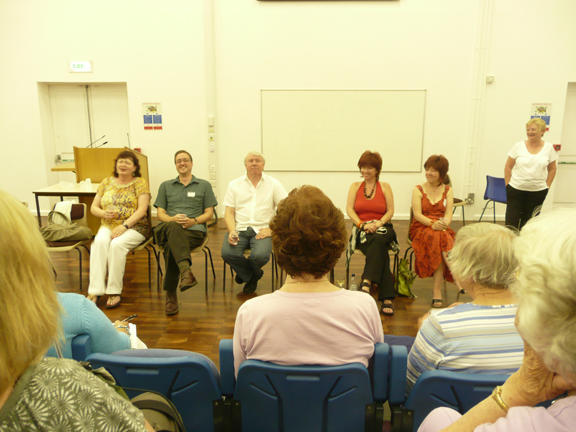 On the Q&A panel at caerleon with Kate Walker, Stephen Wade, Jane Wenham-Jones and Lynne Hackles (Photo credit:  Susan Hanniford)