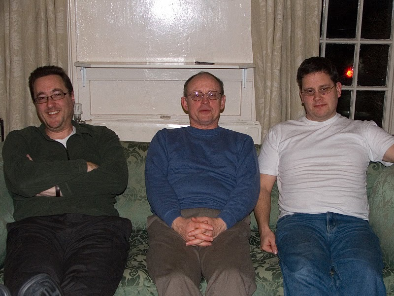 Simon, Mike and Bryan on a Wrekin Writer Retreat (although it looks more like a sofa) (Photo credit: Diane Perry)