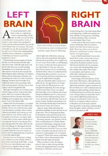 Left Brain Right Brian - Writing Magazine - February 2012 1
