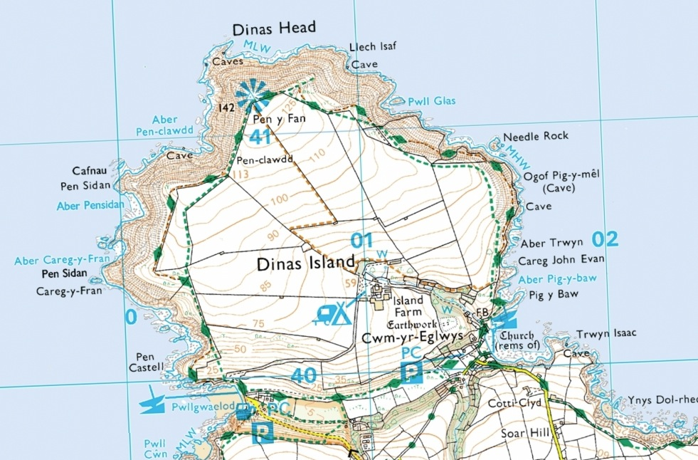 The pentagon-shaped DInas Head, Pembrokeshire