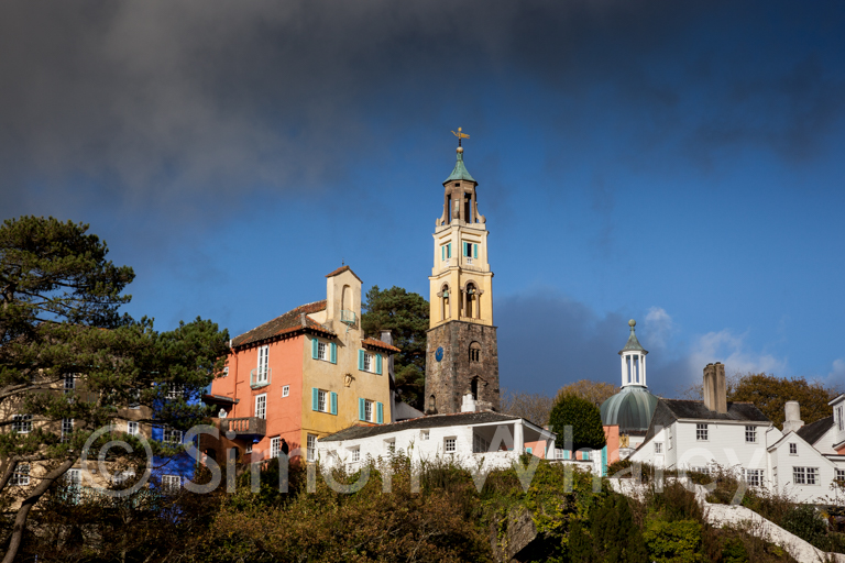 The Bell Tower and buildings at the top of Portmeirion Village,