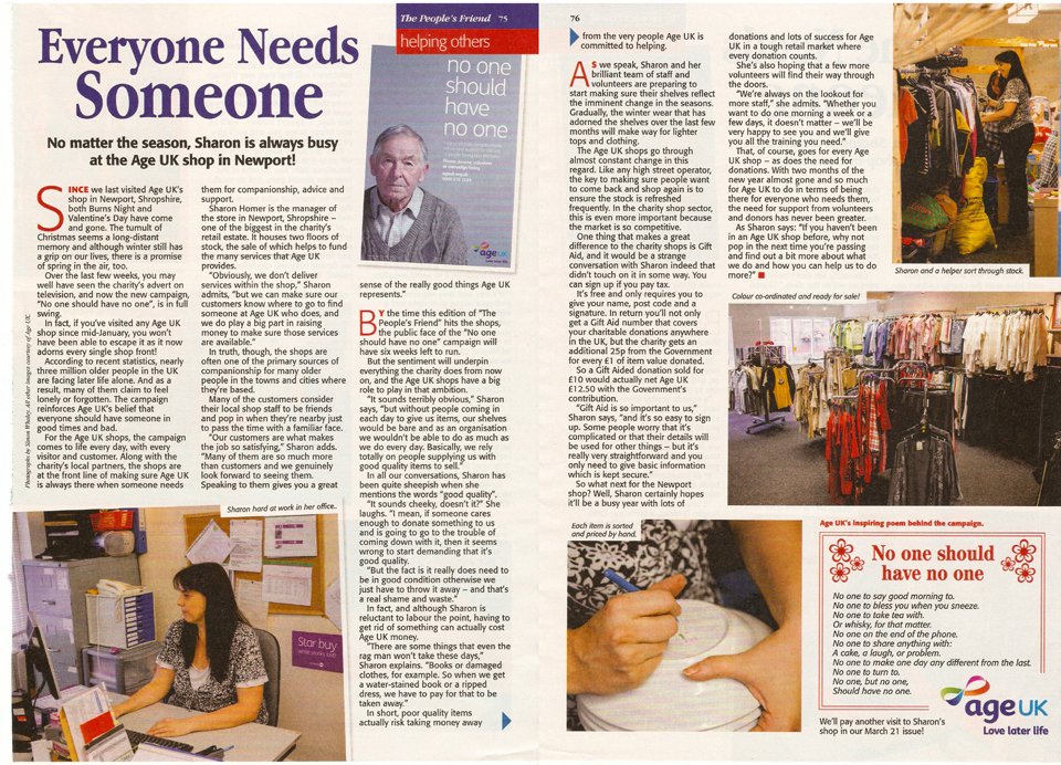 Age UK feature in The People's Friend magazine