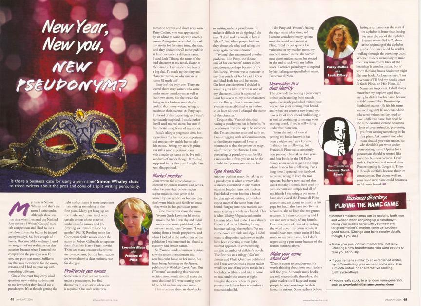 Business of Writing - New Year, New You, New Pseudonym? - Writing Magazine - January 2016