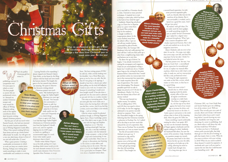 Christmas Gifts - Writing Magazine - December 2015 issue