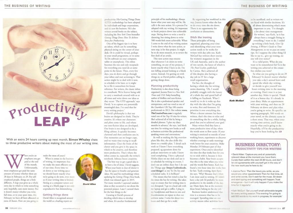 Productivity Leap - Published in Writing Magazine - February 2016