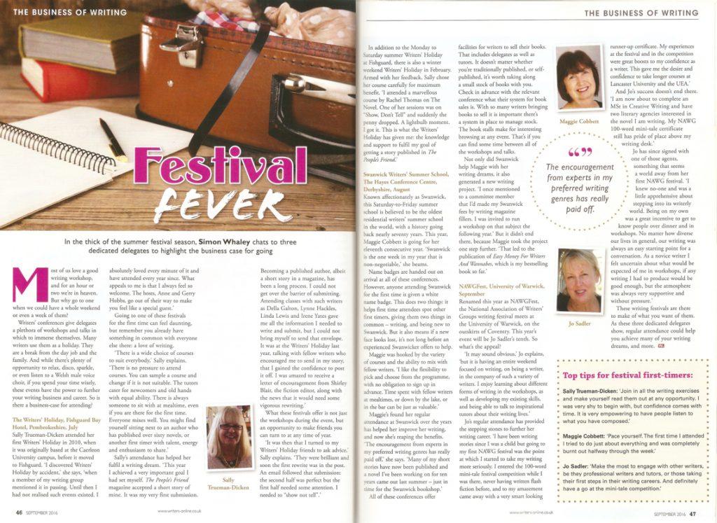 Festival Fever - Writing Magazine - September 2016 Issue